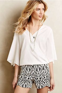 Crossed Kimono Blouse and Tulip Hemmed Shorts