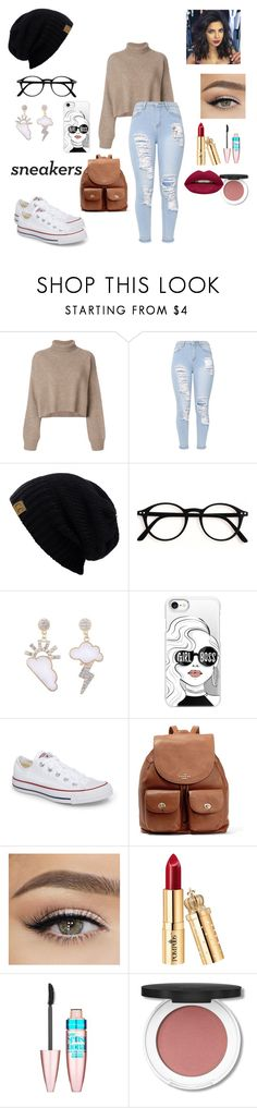 """""""Couldn't be better"""" by abigail-daisy ❤ liked on Polyvore featuring Rejina Pyo, Casetify, Converse, Coach, Maybelline and Huda Beauty"""