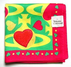 Vivienne Westwood Handkerchief scarf bandana Cotton Green Orb Heart Auth New