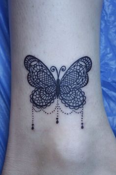 Lace Butterfly Tattoo on ankle
