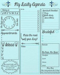 My Daily Agenda Digital Print 810 To Do Planner, Daily Planner Pages, Daily Planner Printable, Budget Planner, Planner Template, Happy Planner, Schedule Templates, Agenda Printable, 2018 Planner