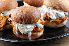 Buffalo Chicken Tailgate Sliders With  Blue Cheese Slaw Topping - Football Season has arrived