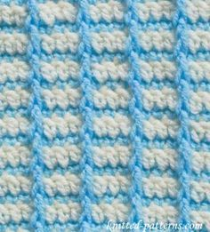 "Crochet Stitches - this one is called ""Checks"" - FREE - CROCHET - another nice stitch - kind of like mini clouds Crochet Stitches Chart, Afghan Crochet Patterns, Crochet Squares, Crochet Afghans, Knit Or Crochet, Knitting Stitches, Free Crochet, Crochet Baby, Stitch Patterns"