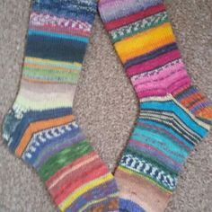 My Opal Scrappy Socks these were knitted using mini balls from Opal Advent Calender