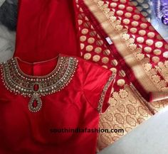 Top Trending Gorgeous Blouse Patterns For Pattu Saris # Blouse Patterns # For Wedding Saree Blouse Designs, Pattu Saree Blouse Designs, Saree Blouse Patterns, High Neck Saree Blouse, Lehenga Designs, Dress Patterns, Blouse Designs High Neck, Fancy Blouse Designs, Saris