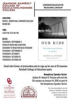 Looking to get more involved? Join the JRCoE/Honors College reading group.