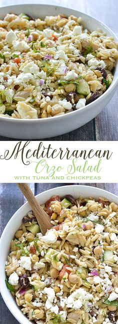 Mediterranean Orzo Salad with Tuna and Chickpeas | www.motherthyme.com Orzo Recipes, Tuna Recipes, Healthy Eating Recipes, Healthy Foods To Eat, Seafood Recipes, Salad Recipes, Dinner Recipes, Orzo Salad, Kitchen