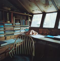 The study in the yurt home of Bill Coperthwaite. I just love this, both the photo and the subject itself. The collection of books, the soft morning light. Photo taken by A. William Frederick.