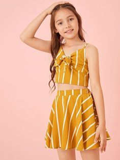 Cute Little Girls Outfits, Cute Comfy Outfits, Kids Outfits Girls, Girls Fashion Clothes, Tween Fashion, Teen Fashion Outfits, Cute Summer Outfits, Girl Fashion, Striped Cami Tops