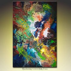 Abstract art giclee print on gallery wrapped by SallyTraceFineArt (Art & Collectibles, Prints, Giclee, Abstract Painting, Abstract, Canvas, Gallery Wrap, Expressionism, Acrylic, Colorful, Abstract Canvas, Contemporary, Canvas Wrap, Canvas Prints, Large Wall Art, 24x36)
