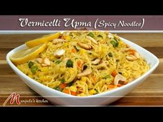 Vermicelli Upma - Spicy Noodles - Seviyan Recipe by Manjula Vegetarian Cooking, Easy Cooking, Vegetarian Recipes, Cooking Recipes, Healthy Recipes, Cooking Videos, Asian Cooking, Indian Food Recipes, Asian Recipes