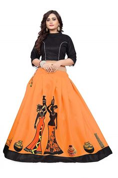 Colour:orenge and balck Fabric Digital Print Top: Saree Blouse Neck Designs, Choli Designs, Blouse Designs, Saree Painting Designs, Fabric Paint Designs, Choli Dress, Lehenga Choli, Navratri Dress, Kurti Embroidery Design