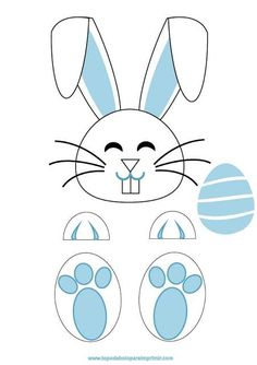 Easter Games, Easter Activities, Craft Activities For Kids, Bunny Crafts, Easter Crafts For Kids, Bunny Templates, Baby Applique, Bunny Face, Diy Ostern