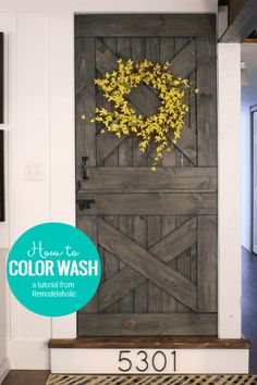 Color washing is the perfect finish for your barn door (or any wood surface)! Come learn how to use this unique painting technique with Remodelaholic Baby Gate For Stairs, Barn Door Baby Gate, Diy Barn Door, Wooden Baby Gates, Dremel Multi, Dutch Door, Unique Paintings, Pet Safe, Wood Doors