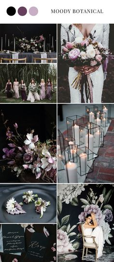 Moody Botanical Black & Purple Wedding Inspiration - This moody dark purple wedding color scheme would be beautiful for a fall or winter wedding. The soft purple wedding flowers bring some lightness and brightness to the darker wedding color palette. Color Mauve, Color Lila, Lavender Color, Magenta, Dark Purple Wedding, Purple Wedding Flowers, Wedding Black, Soft Purple, Trendy Wedding
