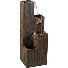 @Overstock - This versatile Tlaloc can accent your indoor or outdoor living space with its three tier design. The fountain boast an attractive rustic wood grain like finish and cooper spouts from which the water gently cascades.http://www.overstock.com/Home-Garden/Tlaloc-Indoor-Outdoor-Floor-Fountain/6537208/product.html?CID=214117 $167.99