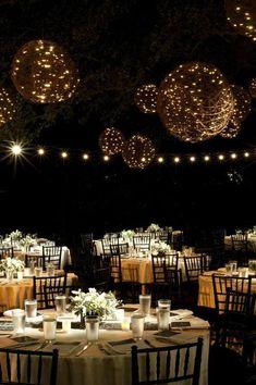 Magical Night Wedding Reception with Hanging Light | http://wedding-reception.hana.lemoncoin.org