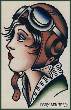 Aviator girl tattoo design by Cory Lenherr. #neotraditional #tattooflash #roaringtwenties                                                                                                                                                      More