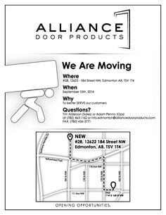 The Edmonton Branch Of Alliance Door Products Has MOVED, Effective Sept.  15, 2014