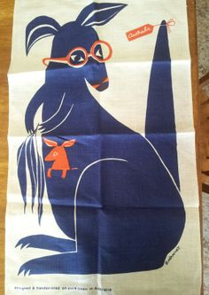 Tea towel by textile artist, John Rodriquez (1928-2000). There are a couple for sale on Etsy. ... http://DaftJunkVintageStore.etsy.com/ ... More about his work here ... http://museumvictoria.com.au/collections/themes/1707/john-rodriquez-textile-collection