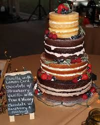Image result for A naked wedding cake with fresh fruit