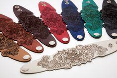 Mandala leather bracelet. Laser cut mandala by RockBodyLeather
