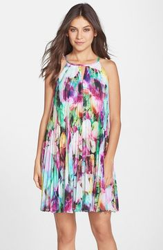 Maggy London Floral Print Chiffon Pleated A-Line Dress available at #Nordstrom
