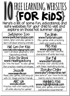 10 free learning sites for kids...PERFECT for summer!