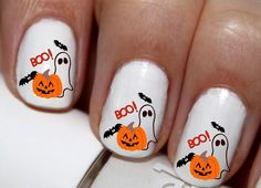 20 pc Halloween Ghost Bats Jack-O-Lantern Pumpkin Fall Season Autumn Happy Halloween Nail Art Nail Decals #cg202na