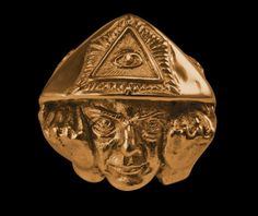 Solid Bronze Aleister Crowley Biker Ring  Free by Easternages, $14.99