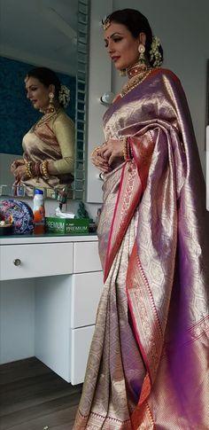 Kavita Ghai in Warp n Weft Maharani Brocade Banarasi Saree Phulkari Saree, Brocade Saree, Banarasi Sarees, Kurti, Indian Attire, Indian Outfits, Indian Wear, Designer Sarees Wedding, Saree Wedding