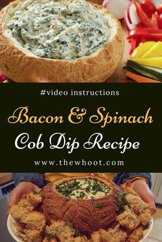 Super Easy Bacon And Spinach Cob Dip Recipe Dip Recipes, Appetizer Recipes, Cooking Recipes, Sausage Recipes, Recipies, Turkey Recipes, Beef Recipes, Icing Recipes, Spinach Recipes