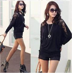 Amazon.com: NEW Women Ladies Loose Batwing Dolman Lace Long Sleeve Casual Top T Shirt (black, XXL): Clothing