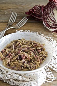 Pasta risottata radicchio e pancetta