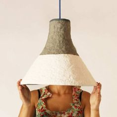 12 stunning examples of eco chic lighting made from paper - UPCYCLIST Diy Light Shade, Paper Light Shades, Paper Mache Clay, Paper Mache Crafts, Paper Craft, Paper Lampshade, Lampshades, Jar Chandelier, Flower Lamp