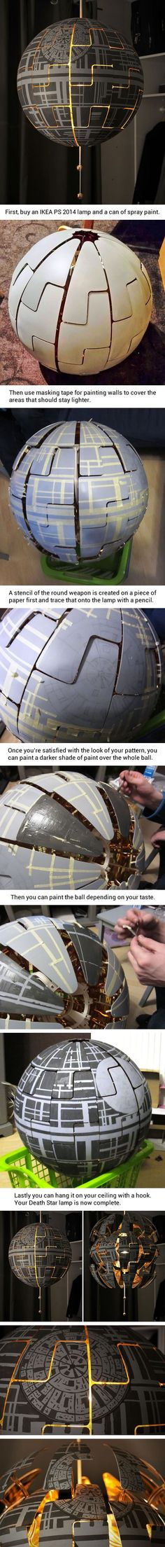 Coole Idee für Star Wars Fans Death Star lamp (by Lylelo) Star Wars Crafts, Geek Crafts, Fun Crafts, Diy And Crafts, Creative Crafts, Wood Crafts, Diy Man, Star Wars Zimmer, Mason Jars