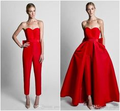 Krikor Jabotian Red Jumpsuits Celebrity Evening Dresses With Detachable Skirt Sweetheart Strapless Satin Guest Dress Prom Party Gowns Classy Evening Dresses Designer Evening Dresses Uk From Queenshoebox, &Price; Evening Dresses Uk, Designer Evening Dresses, Evening Outfits, Evening Skirts, Trendy Dresses, Elegant Dresses, Nice Dresses, Dresses 2014, Modest Dresses