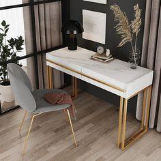 """39""""/47"""" Rectangular Black/White Office Desk with Drawers Marble Veneer Top Gold Hardware Black Desk, Black And White Office, White Desk Office, Guest Room Office, Gold Office, White Desks, Home Office Space, Home Office Desks, White Desk With Drawers"""