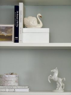 Skylight by Farrow & Ball Farrow And Ball Living Room, Farrow And Ball Paint, Farrow Ball, Room Colors, Paint Colors, Skylight Bedroom, Shelves In Bedroom, Spare Room, Colour Schemes