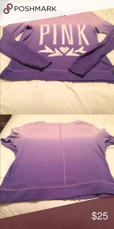 Purple Ombré PINK sweater size xs Super cute ombré shirt with gems on the shoulders! Size xs, great condition. PINK Victoria's Secret Tops Tees - Long Sleeve