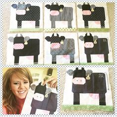 Lky at this tagged and branded herd made by @michelleysue using my Farm Girl Vintage Milk Cow Block!!! #milkcowblock…