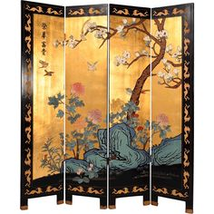 Chinese Gilt Coromandel Four Panel Screen Folding Screen Room Divider, Bedroom Divider, Folding Screens, Home Decor Furniture, Painted Furniture, Furniture Buyers, Room Deviders, Chinese Room Divider, Art Deco Living Room