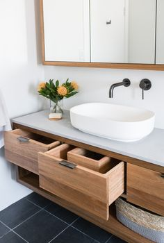 Configuration will depend on the vanity size, whether you'll have one or two basins, which then again determines the plumbing. Bathroom Tapware, Stone Bathroom, Boho Bathroom, Bathroom Renos, Small Bathroom, Timber Bathroom Vanities, Bathroom Design Inspiration, Modern Bathroom Design, Bathroom Interior Design