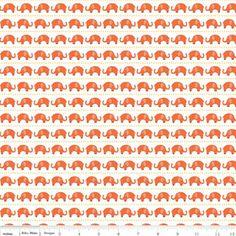 Elephants on Orange Cotton Lycra Knit Fabric by Riley Blake