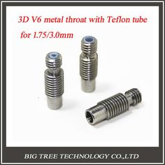 NEW!! 50pcs/lot 3D V6 Hotend Nozzle Throat With PTFE Pipe M6 For 1.75mm/3.0mm Filament 3d Printer #Affiliate