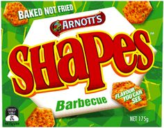Arnott's Shapes Crackers BBQ 200g. Baked crackers with rich Barbecue taste