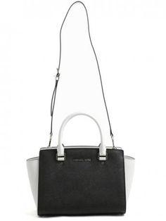 Michael Kors-selma medium satchel bag-borsa selma medium-black and optic white-Michael Kors bags shop online