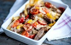 Pasta Recipes : Grilled pasta with baby bangers and peppers