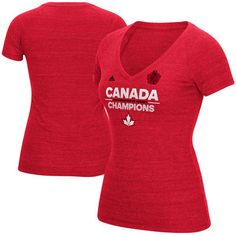 Canada Hockey adidas Women s World Cup of Hockey 2016 Champions Authentic  Champs T-Shirt - Red bccf3baf6241