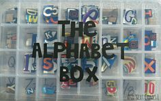 Recycled Alphabet & Number Busy Box from And Next Comes L numbers, alphabet box, boxes, learning, activ, cut outs, letters, busi box, kid